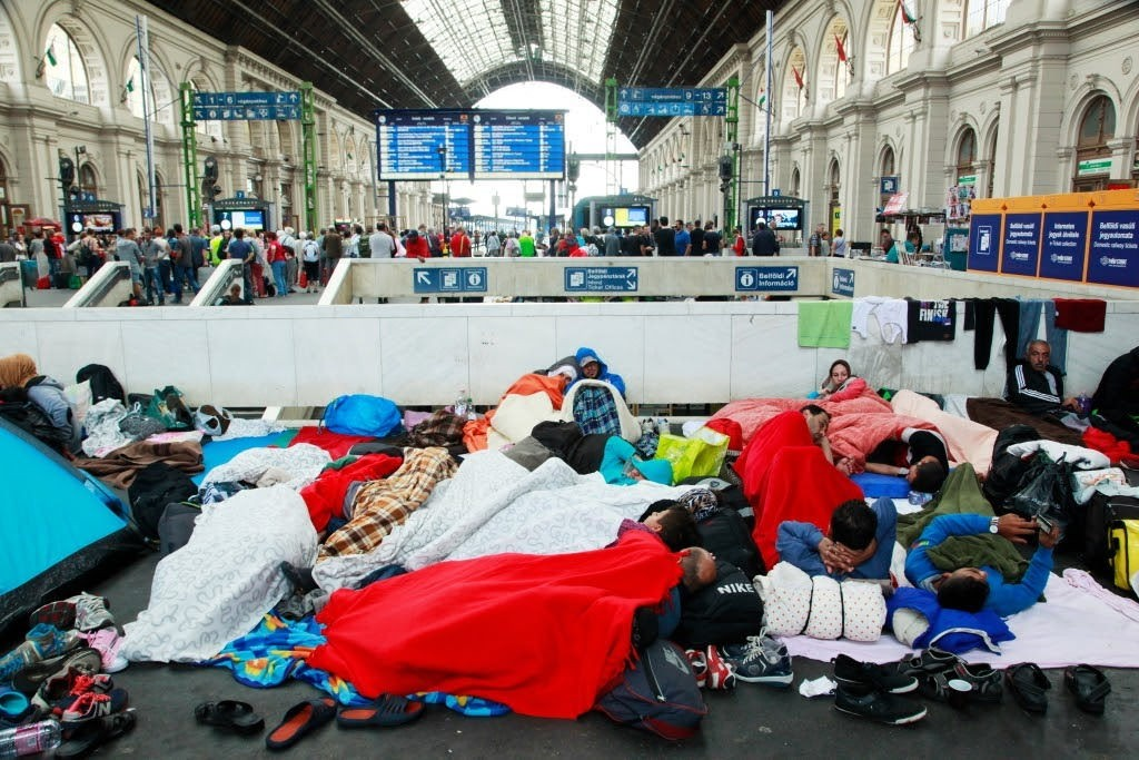 Syrian refugees at Budapest Keleti railway station, 4 September 2015