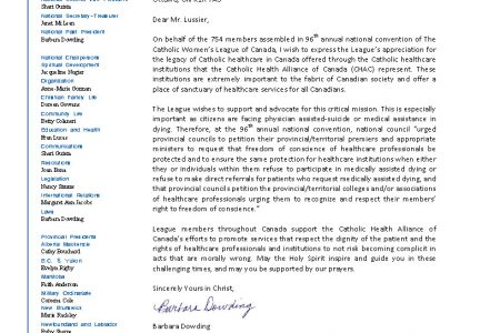Letter to the Catholic Health Alliance of Canada