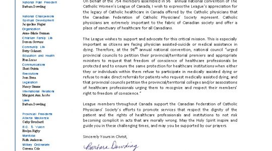 Letter to the Canadian Federation of Catholic Physicians' Society
